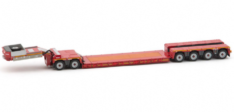 WSI Nooteboom 4 Axle Euro-PX trailer in Red with 2 Axle Inter-Dolly